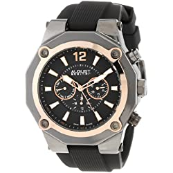 August Steiner Men's Rugged Power Multifunction Watch with Two-Tone Dial and Black Silicone Strap AS8080RG