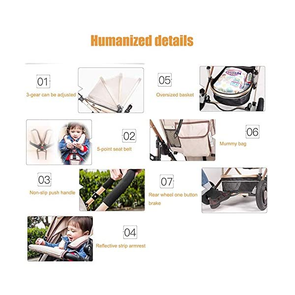 LjfRⓇ Hot Mom stroller travel system Detachable Twin Carriage, Shockproof, Foldable Pushchair with Adjustable Backrest, Lightweight Newborn Stroller, I LjfⓇ ★ TWIN STROLLER: Thanks to the Double Strollers, getting anywhere with two small children has never been easier. You can glide through the city, even if you have only one hand to steer; You can even roll through a standard sized door. ★ INDEPENDENT ROOM, INDEPENDENT ADJUSTMENT: The two seats can sit and lie separately. Two babies do not bother each other. The backrest can adapt to the sleeping position of the baby to sleep comfortably. ★ SAFETY WHEELS AND 5-POINT SAFETY BELTS: The springs in the front wheels absorb shocks to control direction and safety. The rear wheels have a linkage to brake with one step. The 5-point safety belt is fitted with each seat to ensure safety while your baby is fitted to the seat belt to feel comfortable. 4