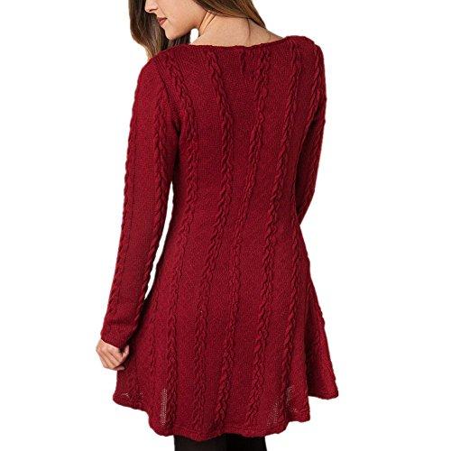 Scothen A-ligne de robes femmes robe en maille à manches longues Pull Tops moderne Jersey Fashion Casual Mini Robe Longshirt hoodies jumper sweatshirt blouse Burgund