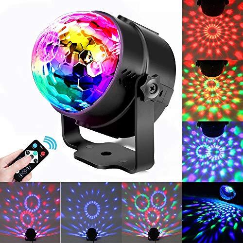Discokugel,LINN LED Partylich Disco Lichteffekte mit Fernbedienung Lichter,3W RGB Sprachaktiviertes Kristall Magic Ball Bühnenlicht Discokugel für Kinder Party Karaoke Club Lichteffekte Weihnach