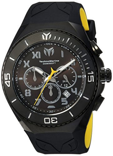 Technomarine Men's 'Manta' Quartz Stainless Steel and Silicone Casual Watch, Color Black (Model: TM-215069)