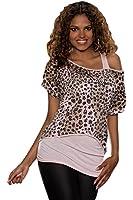 5153 Fashion4Young Damen Top und Vokuhila-Netzshirt 2 in 1 Shirt + Top verfügbar in 4 Farben