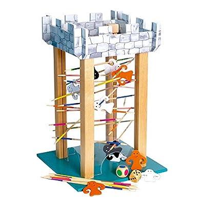 Geisterturm aus Holz, mit bunten Geistern und Stäben sowie zwei Würfeln, Stäbe aus dem Turm ziehen, ohne dass die Gespenster fallen, schult die Feinmotorik und Konzentration, für Kinder ab 3 Jahren von small foot company