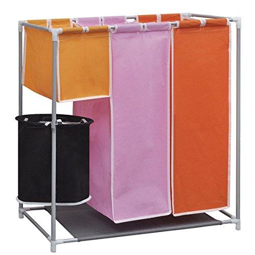 vidaXL 4 Fächern Wäschekorb Wäschesammler Wäschesortierer Wäschebox Wäschetonne
