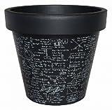 E&K Übertopf Pflanztopf Blumentopf mit Schrift aus Kunststoff, Farbe:physiks dunkel