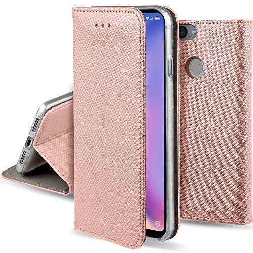 Moozy Funda para Xiaomi Mi 8 Lite, Oro Rosa - Flip Cover Smart Magnética con Stand Plegable y Soporte de Silicona