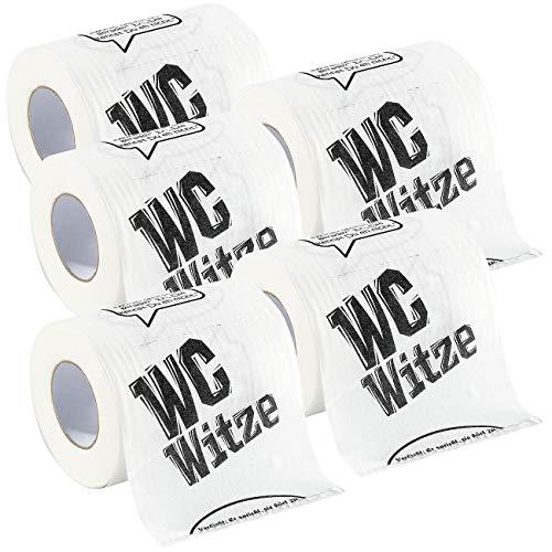 infactory Geschenk-Toilettenpapier: Toilettenpapier Witze, 5 Rollen (Witzige Toilettenpapier-Rolle)