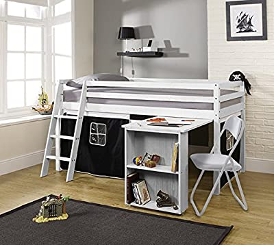 Noa and Nani Cabin Bed with Desk in White with Pirate Design, Mid Sleeper Bed with Tent WHITE