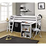 Noa and Nani - Midsleeper Cabin Bed with Desk and Pirate Tent | Mattress Included - (White)