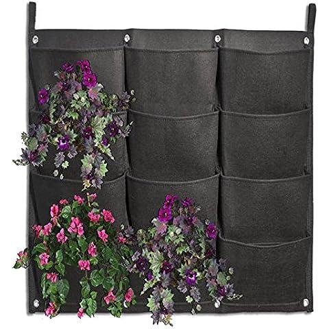 JOYOOO 12 bolsillo Vertical Wall Garden macetero pared-montaje en Plant malevolencia hierbas fresas