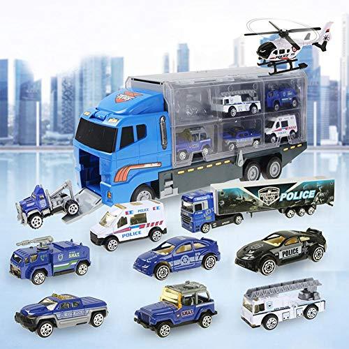 ug-Set - Polizei-Transport-LKW, Mini-Spielzeugauto aus Kunststoff-Druckguss im Gepäckträger, Mini-Autos für Kinder, Kinder, Jungen und Mädchen ()