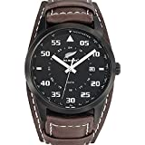 All Blacks - 680160 - Montre Homme - Quartz Analogique - Cadran Noir - Bracelet Cuir Marron