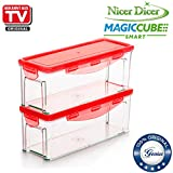 Genius Nicer Dicer Magic Cube Smart | Contenedor de, 4piezas, cortador de frutas y verduras,...