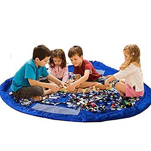 Preisvergleich Produktbild Spielematte Spielen Kinder Mat BigNoseDeer faltbare Baby Spielzeug-Speicher-Beutel-Kind-Teppich-Kind-Spielzeug Organizer 60 Zoll (150 Zentimeter) (blau)
