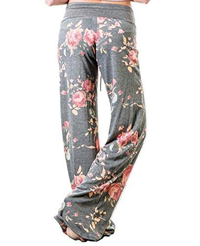 FASTYLING Damen Sporthose lang Freizeithose Ladies Floral Print Wide Leg Long Trousers Light Grau