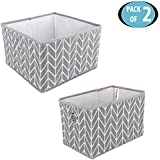 HomeStorie™ Canvas Foldable Storage Bin Basket For Office, Home Closet, Pack Of 2, Medium & Small