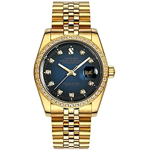 Topwatch® Sangdo uomo con zircone, lunetta con diamanti, 18 k, colore: oro, quadrante blu-Orologio da polso - 18k Quadrante Blu