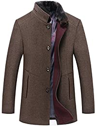 d5a0028b0ea5 YOUTHUP Manteau Homme Laine Hiver Chaud Parka Veste en Fourrure Trench Coat  Slim Fit Casual Simple