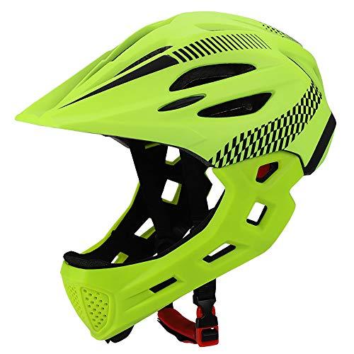 XYL Fahrradhelm Kind Vollüberzogener Gesichtsschutz Abnehmbar Geeignet für Laufrad Radfahren Motocross MTV BMX Atmungsaktiv Sicherheit Multicolor,greenblack