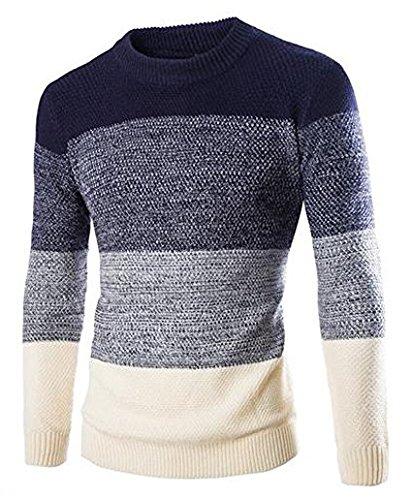 Zicac 2015Chaqueta de Invierno Elegante diseño de Rayas para Hombre British Style Slim fit Cuello Redondo Jersey, Colores Variados Azul Azul Marino Large