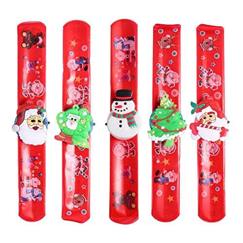 Toyvian 5 Stück Slap Armbänder mit LED-Leuchten Weihnachtsfeier Gefälligkeiten Weihnachten Armband Für Kinder Jungen Mädchen
