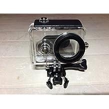 JZK® Subacuática 40m caso funda carcasa impermeable profesional con tornillo y adaptador per Xiaomi Yi 16MP 4608x3456 1920x1080p cámara 1 Generación, Negro