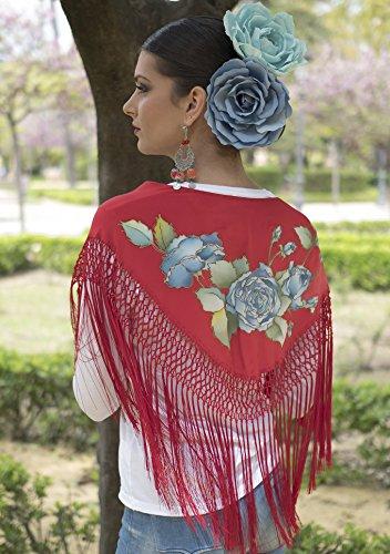 Mantoncillo pintado a mano/ Mantón rojo/ Mantoncillo de flamenca