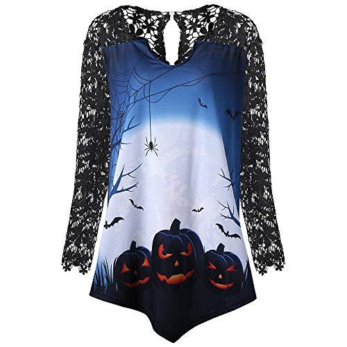 Luckycat Frauen Halloween Kürbis Spitze Patchwork Asymmetrische T-Shirt Tops Bluse Mode 2018 -