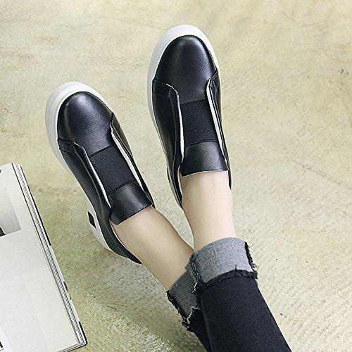 Damen Bequem Frühling Low-Top Sneakers Klassische Rund Zehen Flache Anti-RUtsch Gummi Sohle Freizeit Faul Schuhe Schwarz