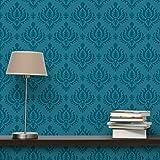 Apalis Vliestapete Petrol Barock Mustertapete Breit | Vlies Tapete Wandtapete Wandbild Foto 3D Fototapete für Schlafzimmer Wohnzimmer Küche | blau, 98207