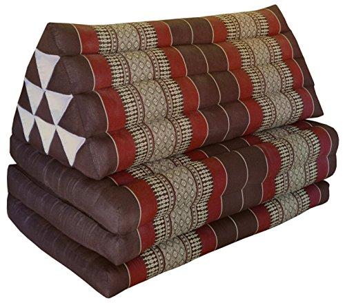 Matelas Thai XXL 3 plis avec coussin dossier triangle, canapé, détente, matelas, kapok, plage, piscine, fabriqué en Thailande, marron/bordeaux (82518)