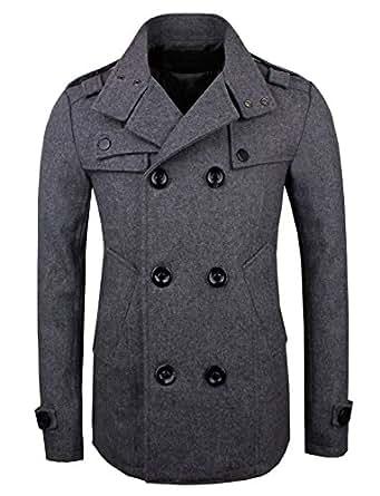 élégant collection tendance de concepteur des hommes vêtements de plein air veste de laine mince PEA trench manteau occasionnel top