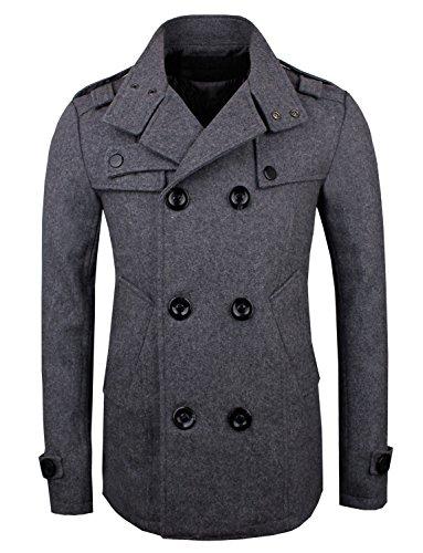 neue Luxus Herren Casual Double PEA Wolle Half Trenchcoat Jacke Grau - Grau