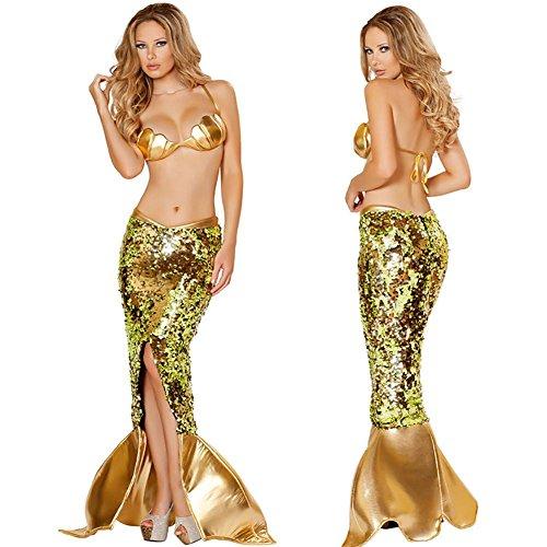 Meerjungfrau Gold Kostüm - OOFAY Sexy Meerjungfrau Kostüm/Damenkostüm Nixe/Mermaid, S