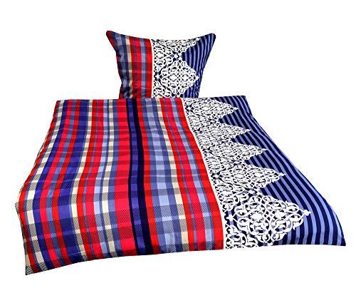 Leonado Vicenti 4 teilige Bettwäsche Mikrofaser 2 x 135×200 cm Bettbezug + 2 x 80×80 cm Kissenbezug gestreift blau weiß türkis mit Reißverschluss