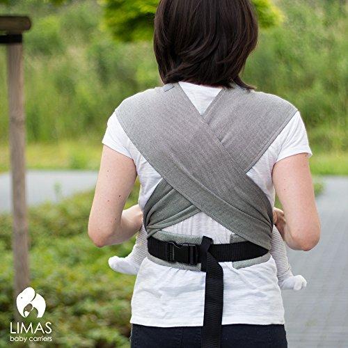 LIMAS Babytrage BIO-Baumwolle, wendbare Bauch-, Rücken- und Hüfttrage - Blau/Grau - 4