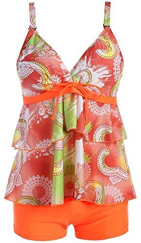 EmilyLe Damen Blumen Printed Chiffon Tankini V-Ausschnitt Zweiteiler Swimsuit Stitching Bademode mit Shorts (EUR 38-40 (M), Orange) - Tankini Orange