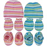 BornBabyKids New Born Baby Cotton Caps Booties Mittens Combo Set (0-6 Month) (Pink & Blue)