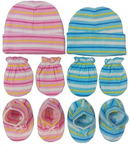 BornBabyKids New Born Baby Cotton Caps Booties Mittens Combo Set (0-6 Month) (Pink & Blue)