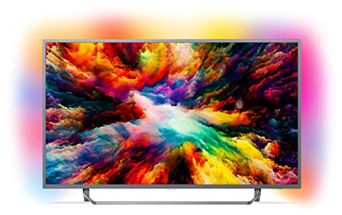 Philips 55PUS7303/12 55-Inch 4K Ultra HD Android Smart TV with HDR Plus and Ambilight 3-sided - Dark Silver (2018 Model)