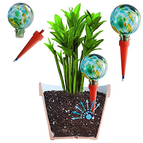 2große plantpal Deko Glas Bewässerung, Globes, Bewässerung für Pflanzen Spikes, aqua Spikes, automatische Bewässerung für Pflanzen, Urlaub Bewässerungssystem, dass funktioniert wirklich. Ideal für Haus Pflanzen. Verwendung in 17,8-25,4cm Innen Pflanztöpfe. Keine müssen Abfall Geld auf andere billige Globes. grün