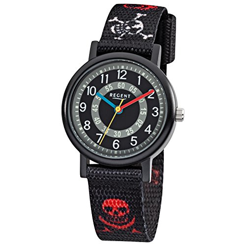regent-kinder-armbanduhr-elegant-analog-textil-braccialetto-nero-rosso-bianco-nero-grigio-ziffernbla
