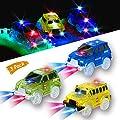 Rennauto(3 Stück) Licht Spur Rennwagen Spielzeug Auto, 5 LED Lichter Schulbus und Polizeiautos und Militärfahrzeuge Jeep Kompatibel mit Magic Tracks, Spielzeuge Auto Weihnachten Geschenke für Kinder von KaliningEU