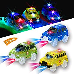 KaliningEU Magic Car (3 Pack) Light Up Track Race Car Toy, 5 Led Lights School Bus y Police Cars y Military Vehicles Jeep para Más Pistas Magic Tracks