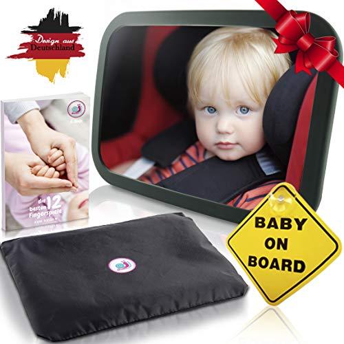 Baby Auto Spiegel Rücksitzspiegel mit 6 Teile I Universeller Autospiegel Babyspiegel für Babys im Auto Kinder-Sitz I Qualitäts Rückspiegel für Babyschale Babysitz