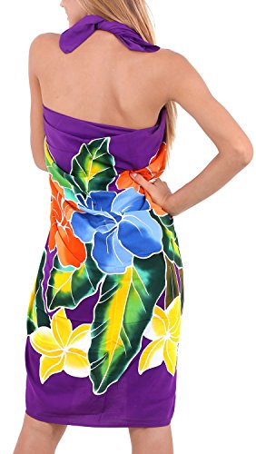 La Leela glatt Hand malen Rayon Schmetterling Bikini Pareo 78x43 Zoll vertuschen Leidenschaftlich Lila