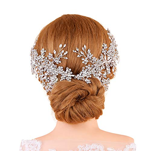 TOPQUEEN Haarschmuck für braut hochzeit haarschmuck hochzeit Silber Strass Braut Haarkamm Hochzeit Haarschmuck Tiara Diadem, Schmetterlinge (HP253)