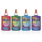 Elmer de lavable Couleur Colle Idéal pour préparer Slime Uni 4-Count Couleurs assorties