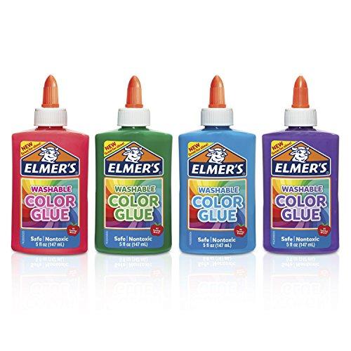 Elmer' s washable color Glue, ideali per creare Slime Solido 4-Count Assorted Colors