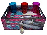 #10: Decorative Wooden Ethnic Print Tray With Drawer/ Organiser
